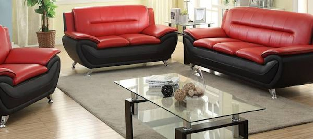 Three piece red/black living room set. Chrome legs.