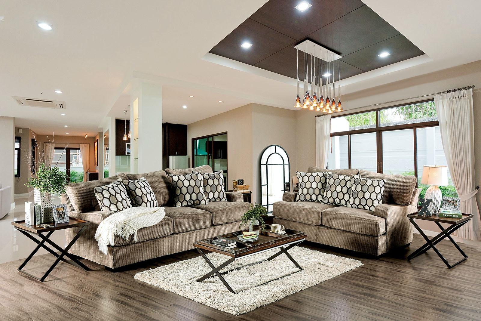 Furniture Of America Sofa, Tan SM1275 SF
