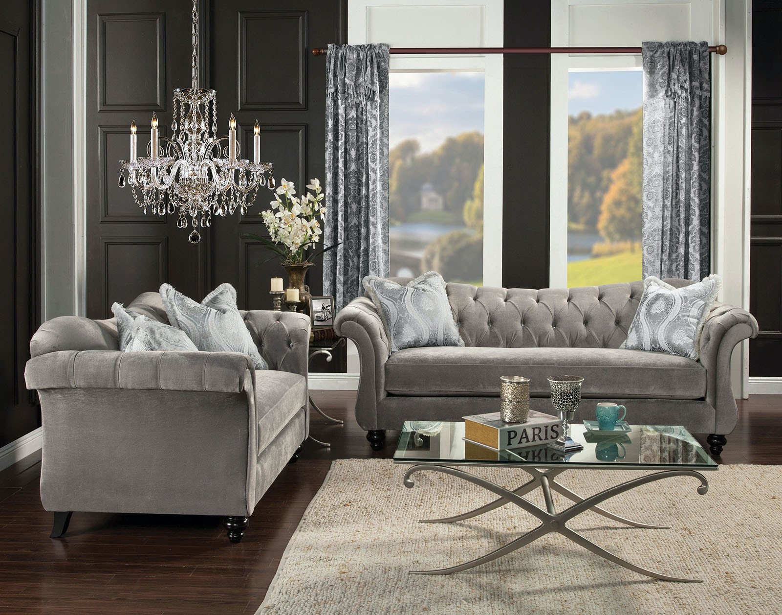 Bon Furniture Of America Sofa, Dolphin Gray SM2225 SF