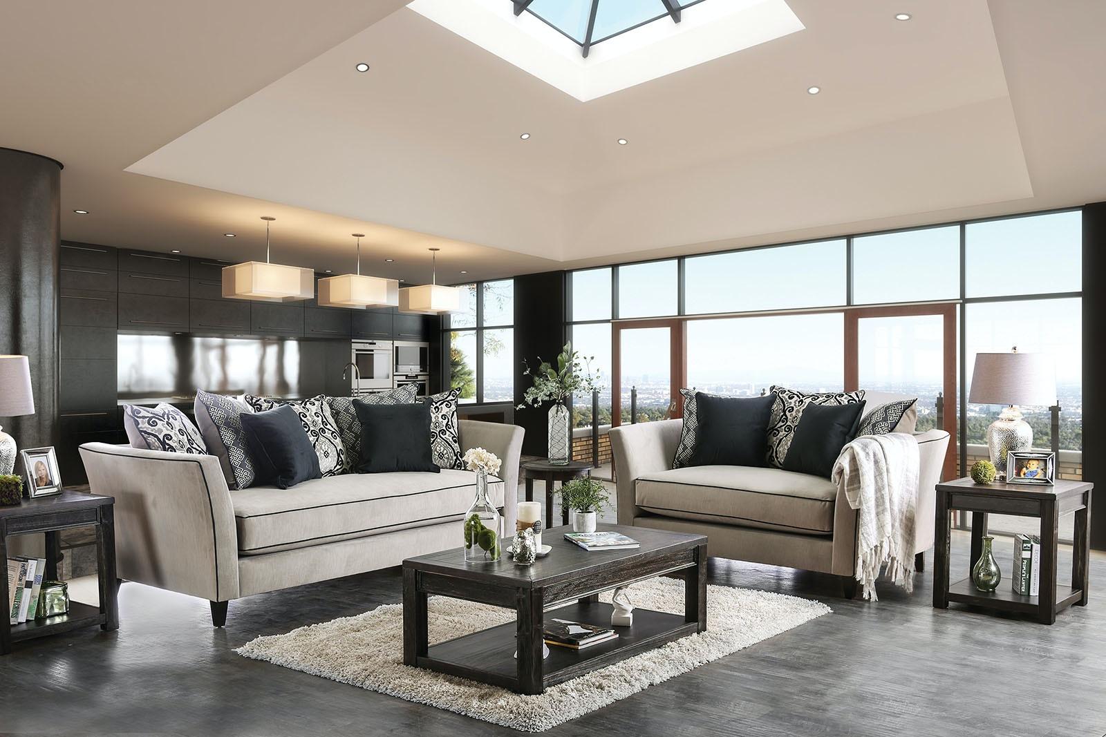 Amazing Furniture Of America Love Seat, Light Gray SM2661 LV