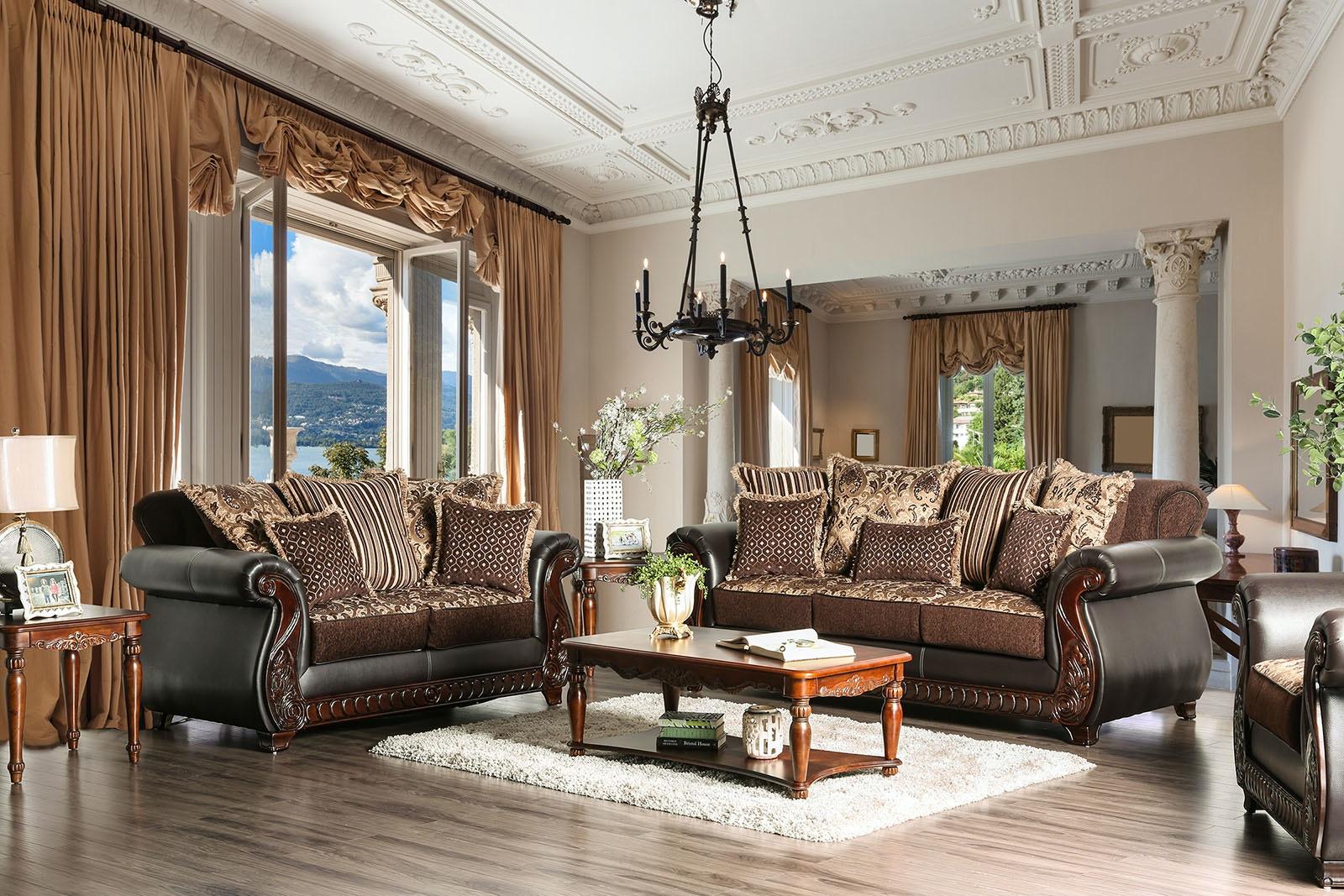 Attractive Furniture Of America Sofa, Dark Brown SM6106N SF