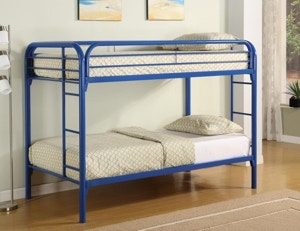 Starlite Bedroom Twin Twin Metal Bunk Bed In Blue Bedding Not