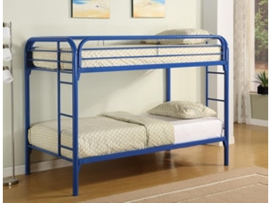 Starlite Twin/twin metal bunk bed in blue. Bedding not included. 2024BL