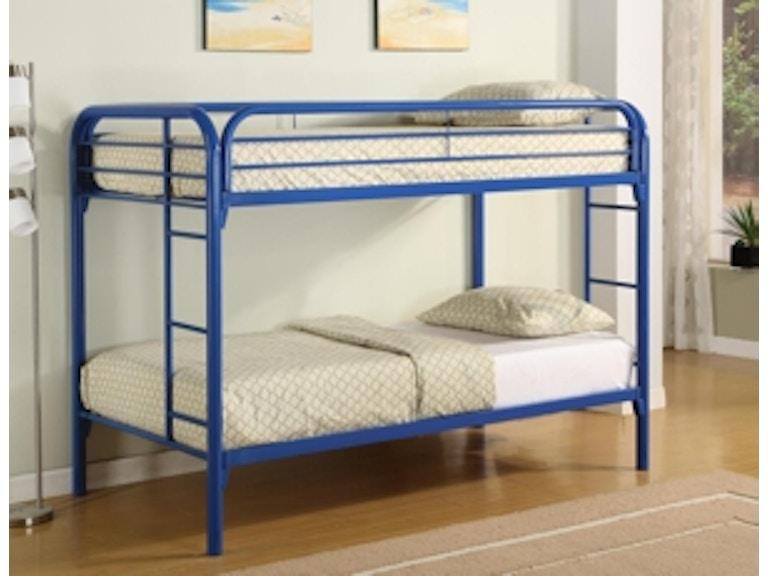 Starlite Bedroom Twin Twin Metal Bunk Bed In Blue Bedding Not