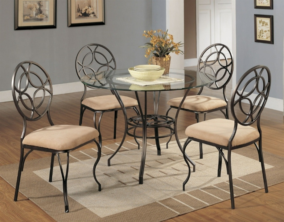 Starlite Dining Room Five Piece Round Dinette Set Chairs With