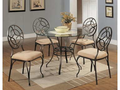 Starlite Five piece round dinette set. Chairs with upholstered seating. 3732