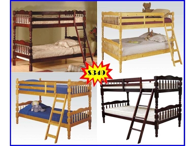 Starlite Bedroom Pine Twin Twin Bunk Bed Set Upper Right Wdbbset2