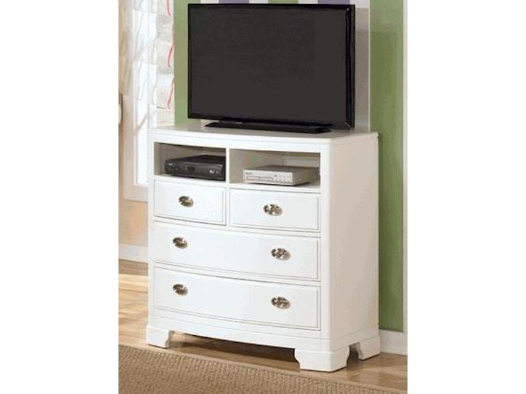 Ashley Bedroom White Media Chest B475 39 Short Furniture Co
