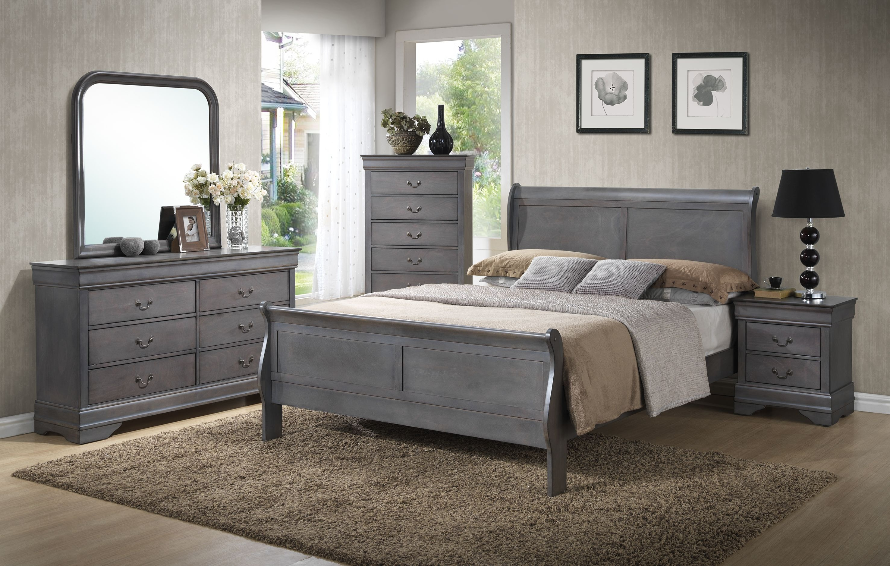Charmant Lifestyle Dresser, Mirror, Chest, King Sleigh Bed Set C4934K