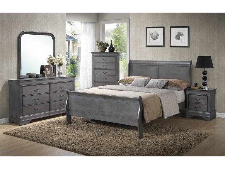 lifestyle dresser mirror chest king sleigh bed - Mirror Bed Frame
