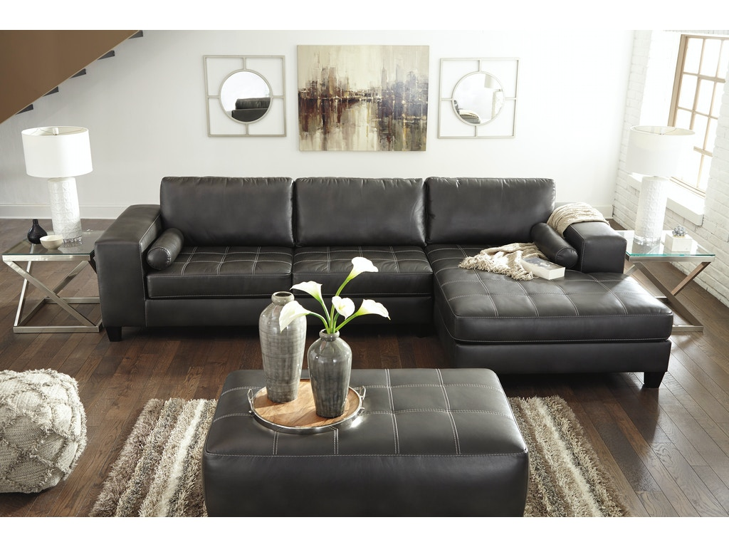 Signature design by ashley sectional w right chaise for Ashley encore grain chaise