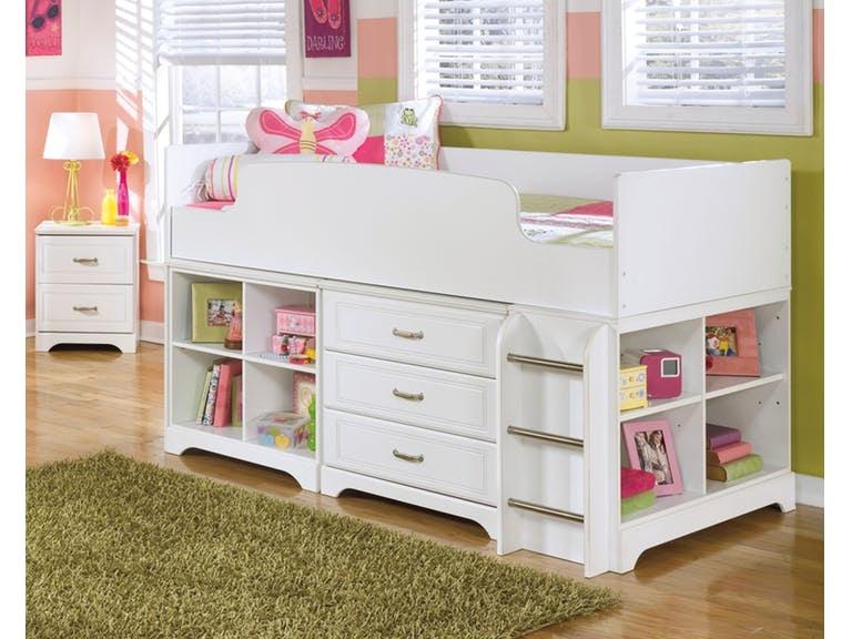 Signature Design by Ashley Lulu Twin Loft Bed bin storage bookcase B102-16 & Signature Design by Ashley Lulu Twin Loft Bed bin storage bookcase ...