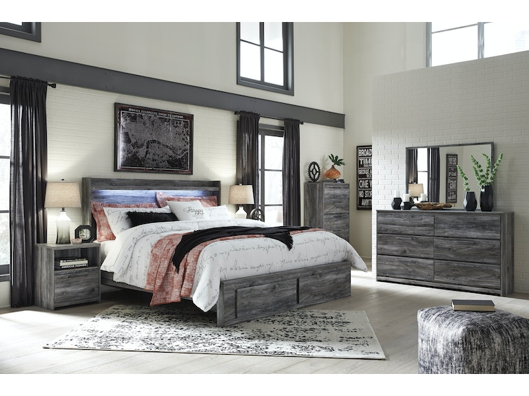 Signature design by ashley 6 piece king bedroom w storage footboard on sale at elgin furniture for Ashley furniture 14 piece bedroom set sale