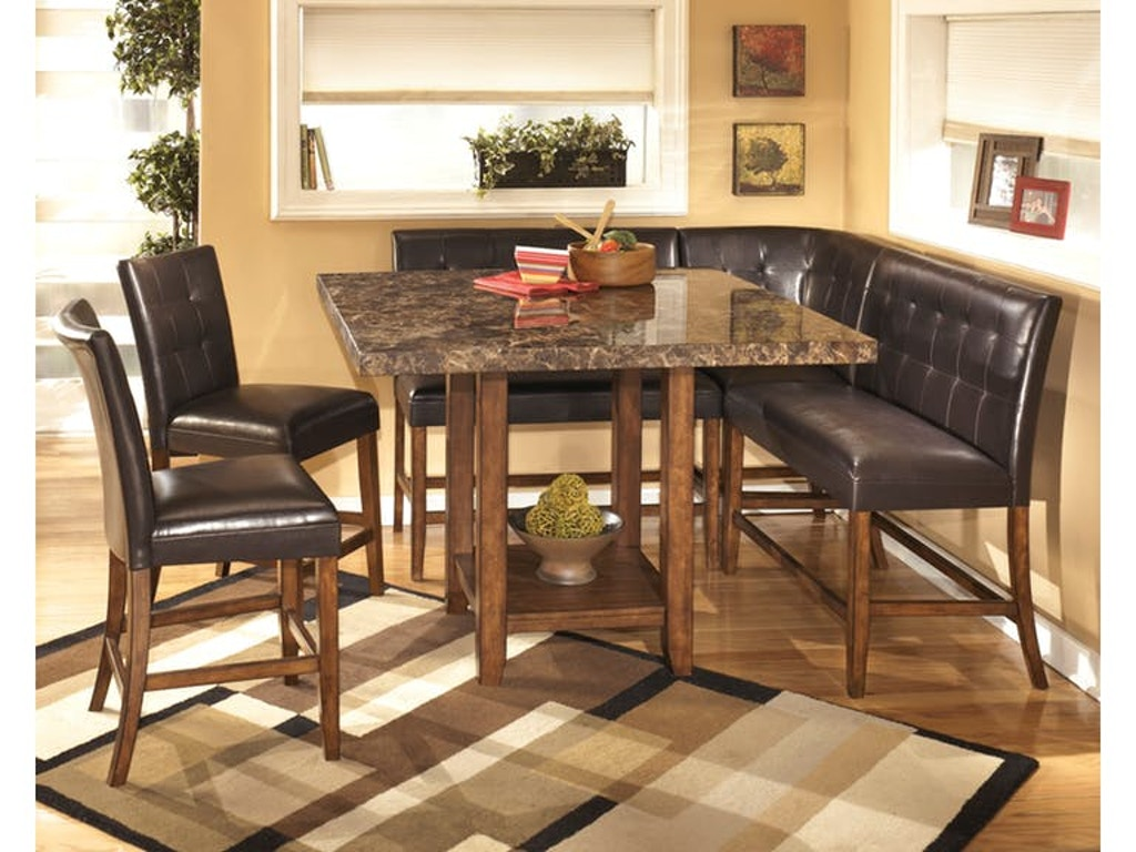 Signature Design By Ashley Lacey Counter Height Table 2 Double Benches Barstools