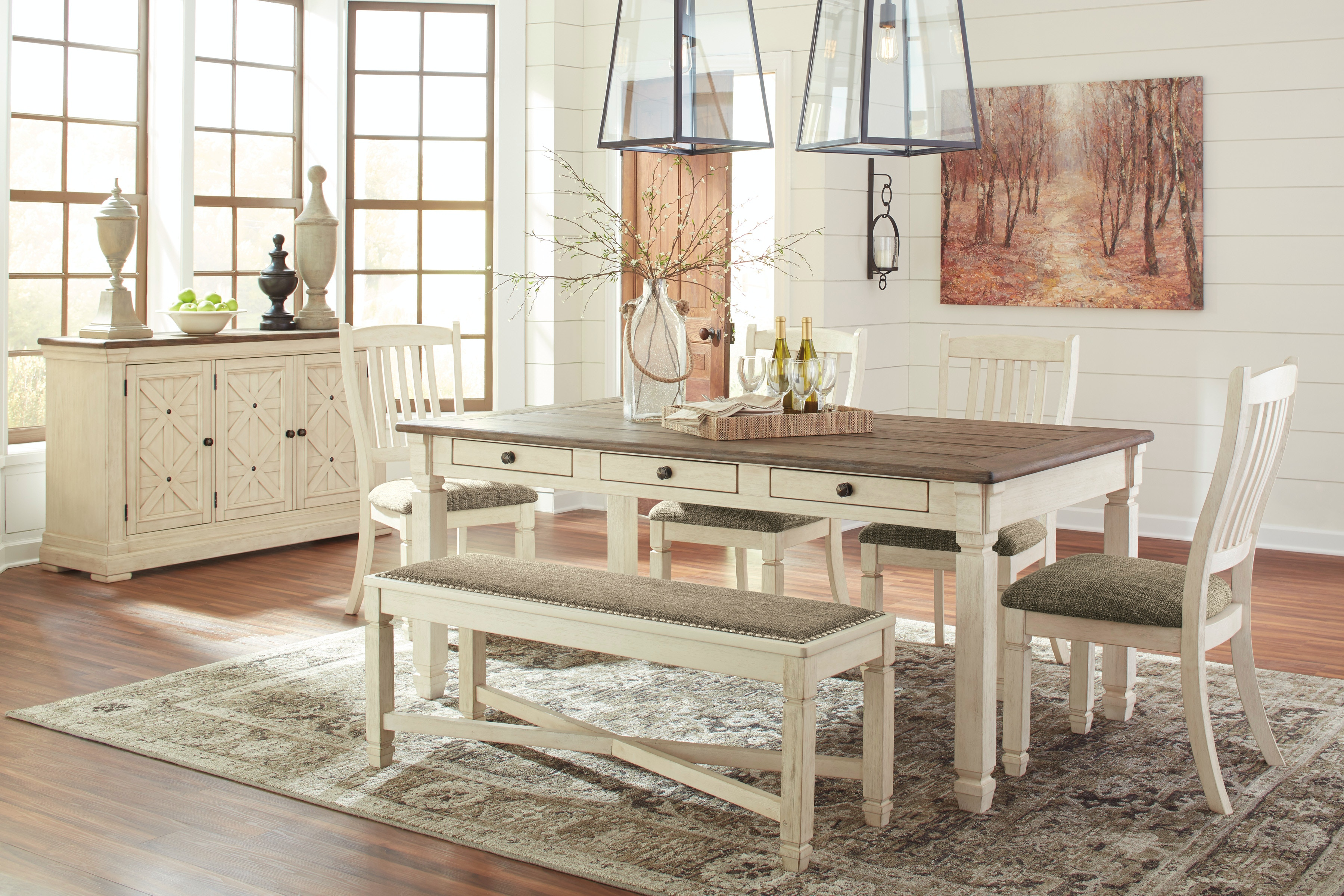 Signature Design By Ashley Bolanburg Table, 4 Chairs U0026 Bench D647 25/01