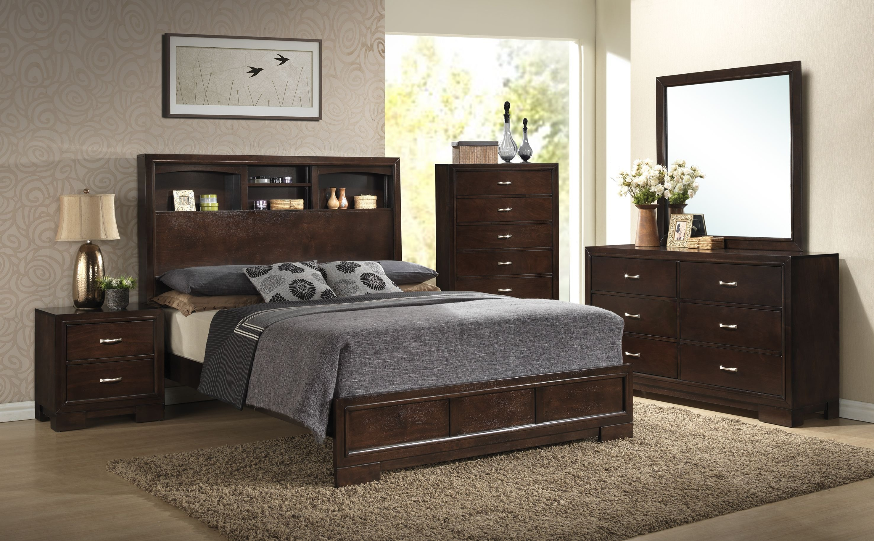 Lifestyle Dresser, Mirror, Chest, Queen Bookcase Bed Set C4233Q