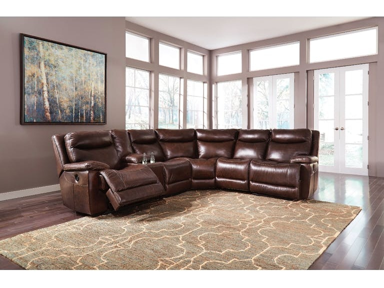 6 Piece Leather Match Power Reclining Sectional Wconsole
