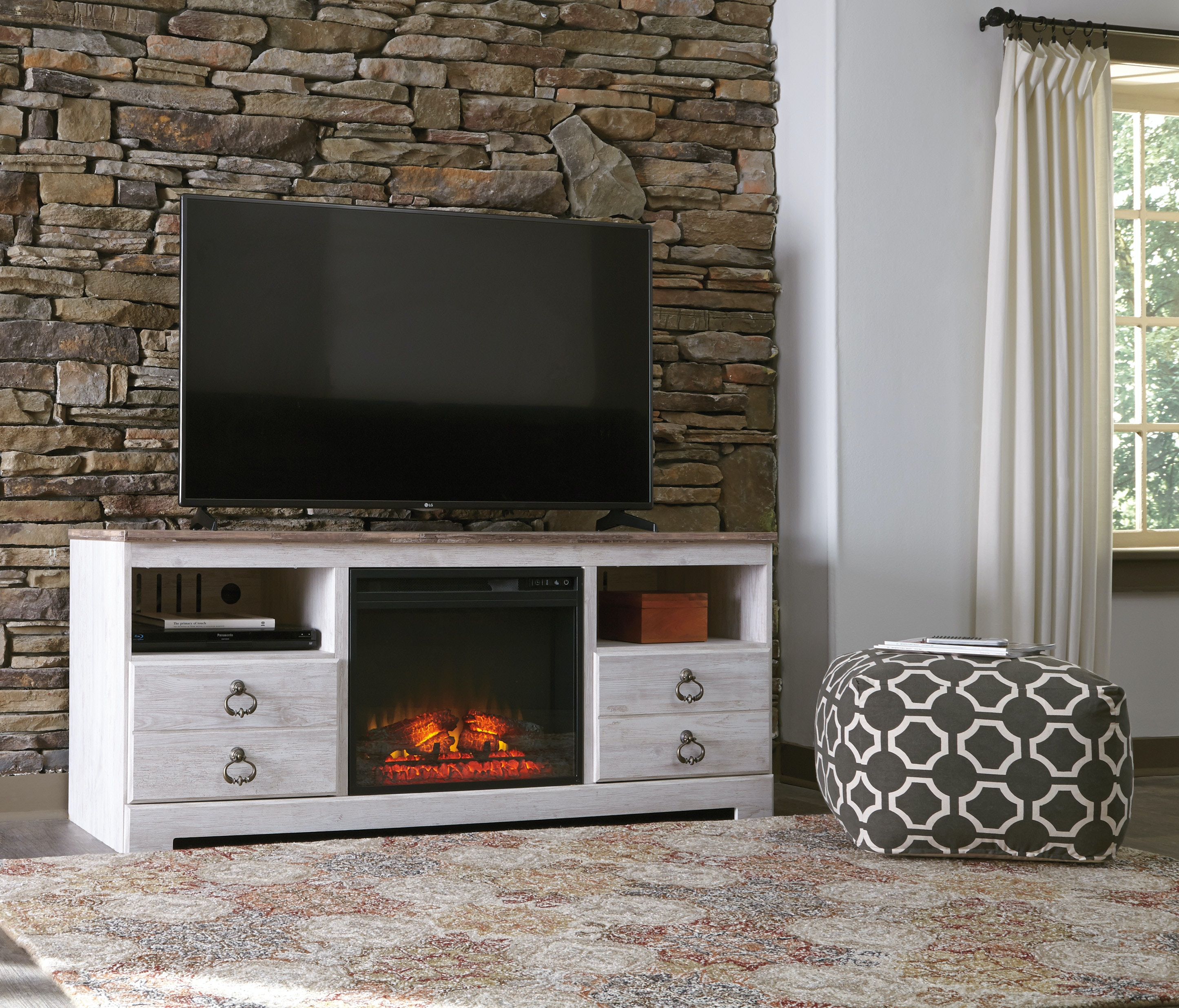 Superior TV Stand W/Fireplace Insert W267 68/W100 01
