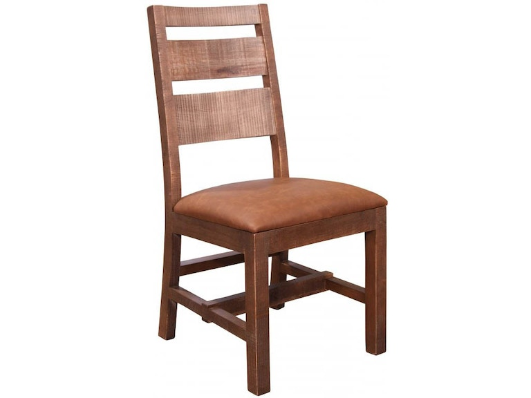 Swell Antique Ladder Back Side Chair With Faux Leather Seat In Brown Cjindustries Chair Design For Home Cjindustriesco