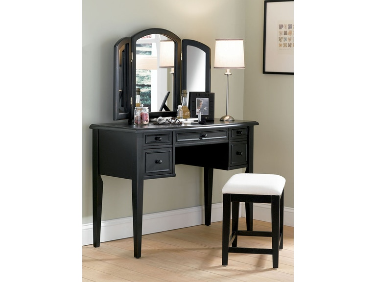 Fabulous Antique Black Vanity With Bench And Mirror Ibusinesslaw Wood Chair Design Ideas Ibusinesslaworg