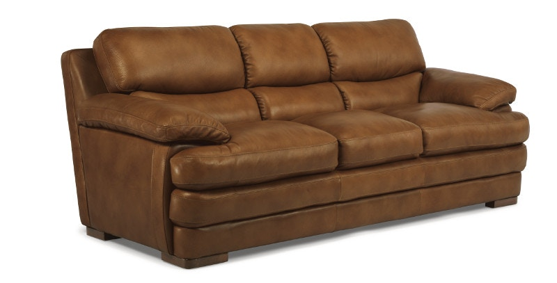 Flexsteel Dylan Leather Three Cushion Sofa without Nailhead