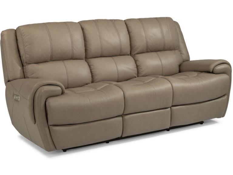 Flexsteel Nance Leather Power Reclining Sofa With Power