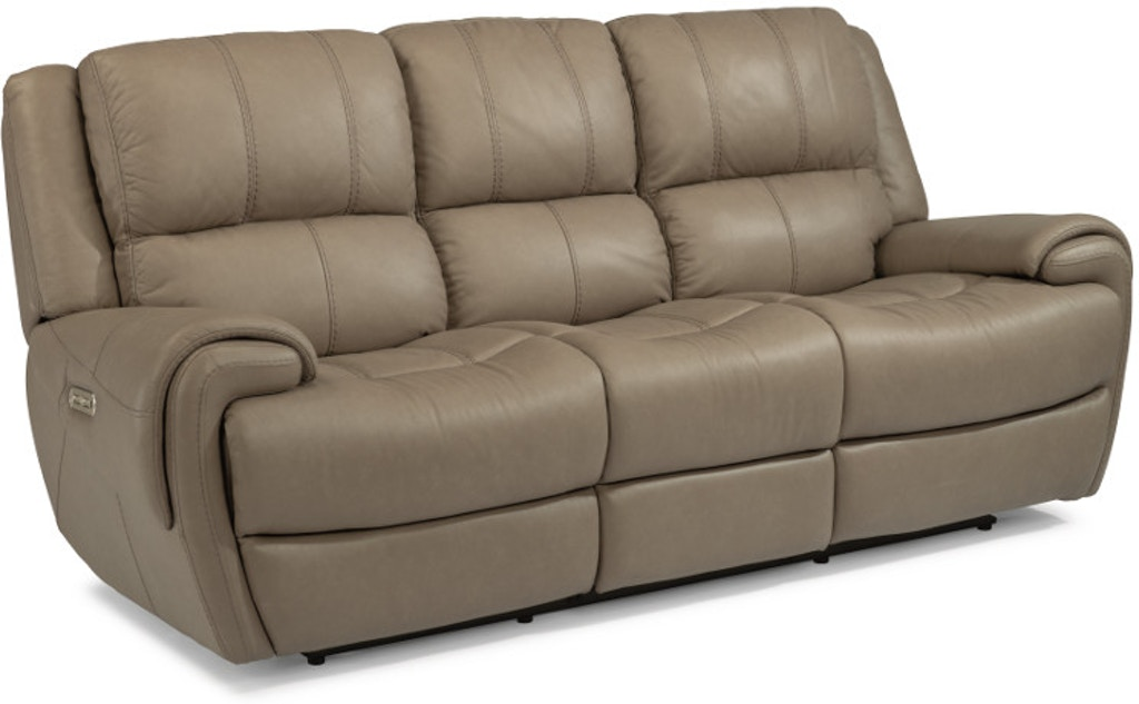 Flexsteel Nance Leather Power Reclining Sofa With Power