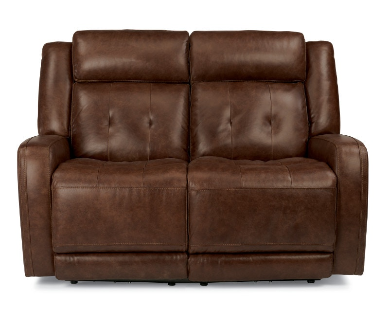 Flexsteel Jude Leather Power Reclining Loveseat With Power Headrests