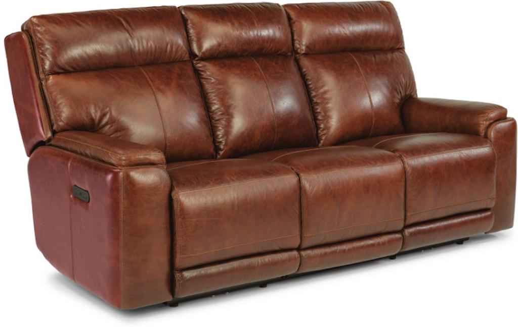 Pleasant Flexsteel Sienna Leather Power Reclining Sofa With Power Machost Co Dining Chair Design Ideas Machostcouk