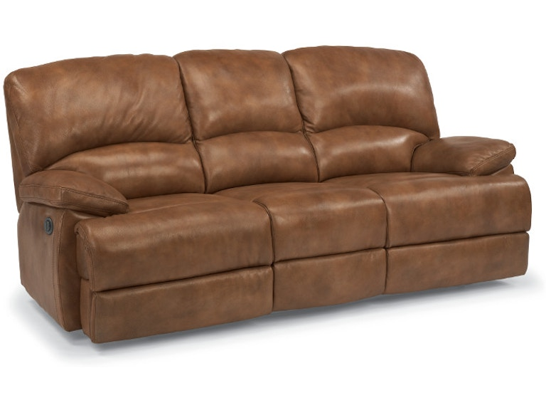 Flexsteel Leather Three Cushion Reclining Sofa With Chaise Footrests 1927 63p 908