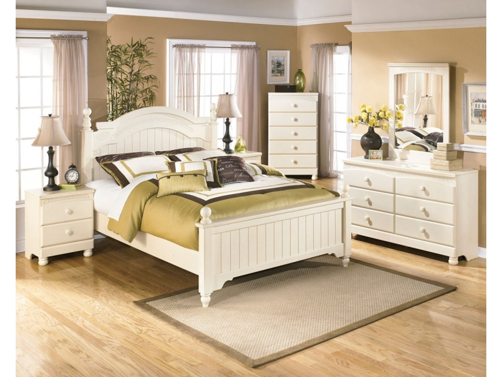 Ashley cottage retreat 5 piece queen bed set portland for Cottage retreat ii