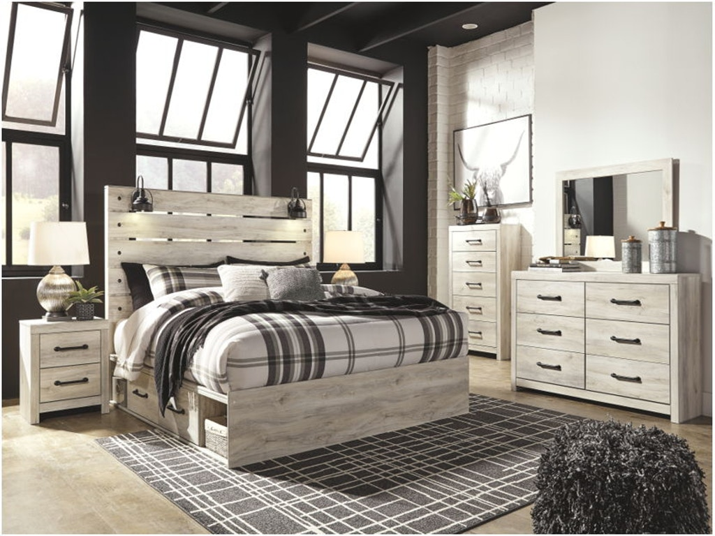 7 Piece King Panel Bed with Side Storage Set