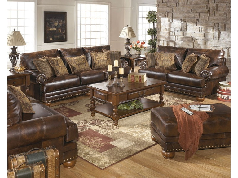 Ashley Antique Sofa and Loveseat and Chair and a Half and Ottoman 99200-38- - Ashley Chaling Antique Sofa And Loveseat And Chair And A Half And