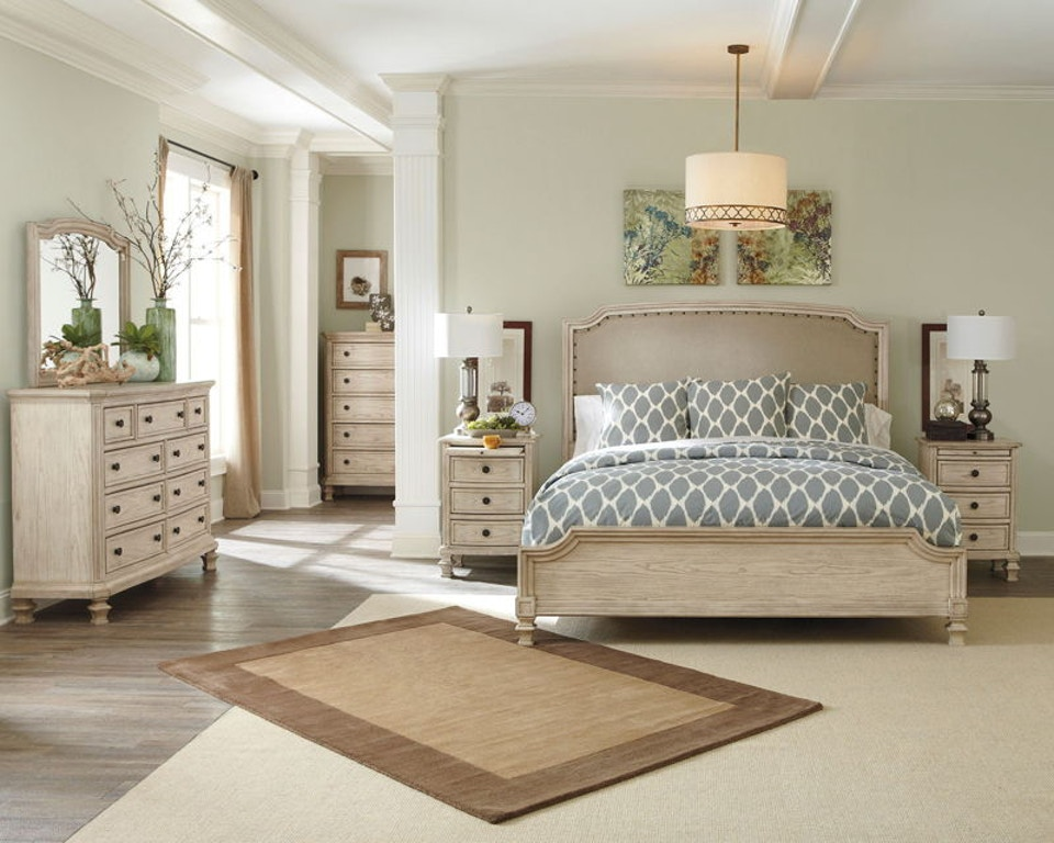 7 Piece Upholstered King Panel Bedroom Set
