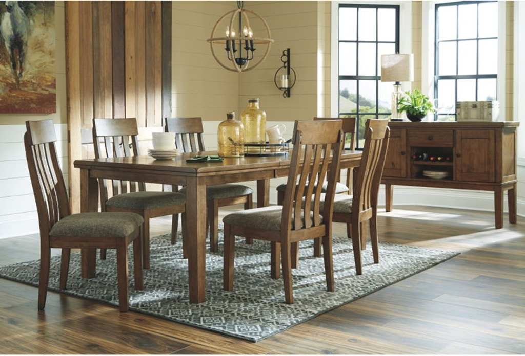7 Piece Rectangular Extension Dining Room Table Set