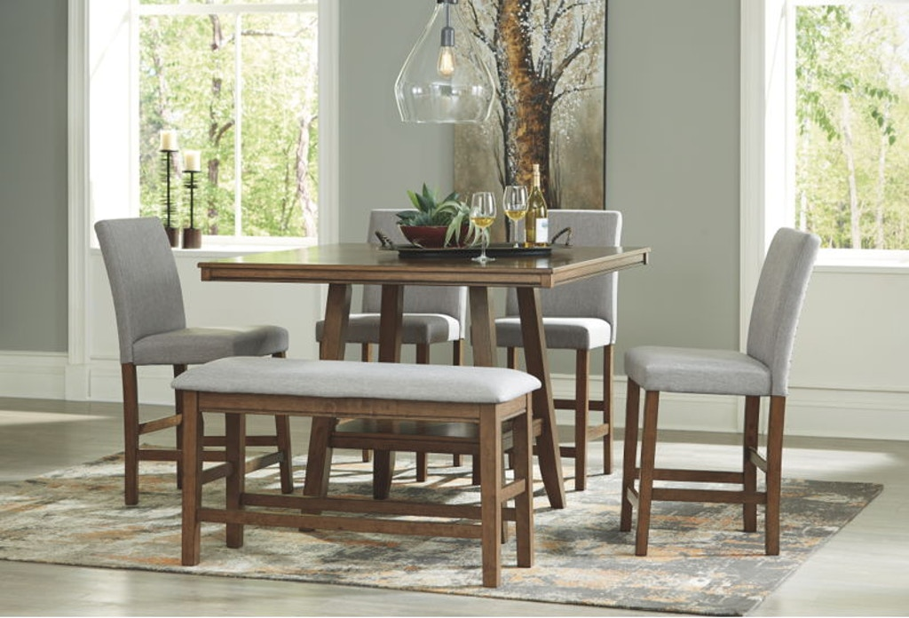 6 Piece Square Dining Room Counter Table Set