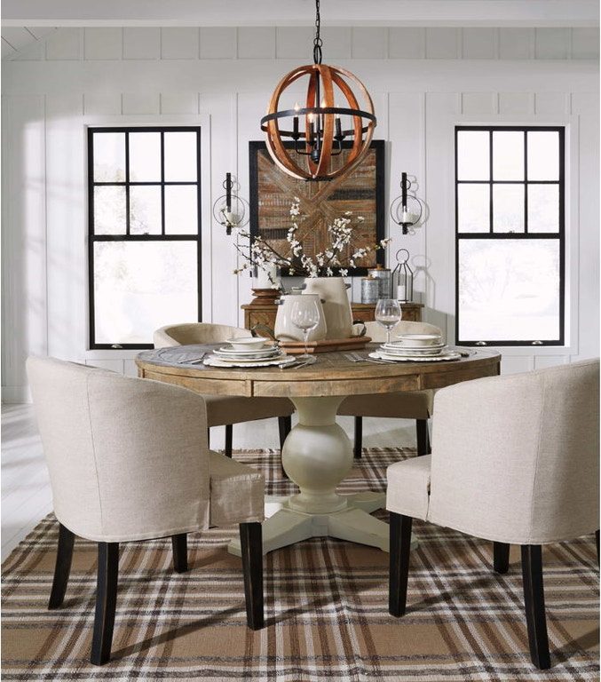 Ashley D754 05: Ashley Grindleburg 6 Piece Round Dining Room Table Set