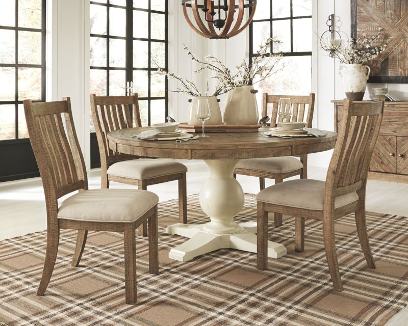Ashley Grindleburg 7 Piece Round Dining Room Table Set D754 50tb 05