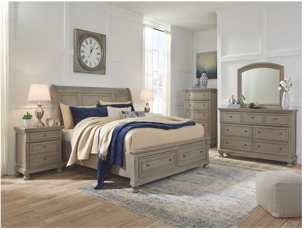 6 Piece King Sleigh Bed with Storage Set