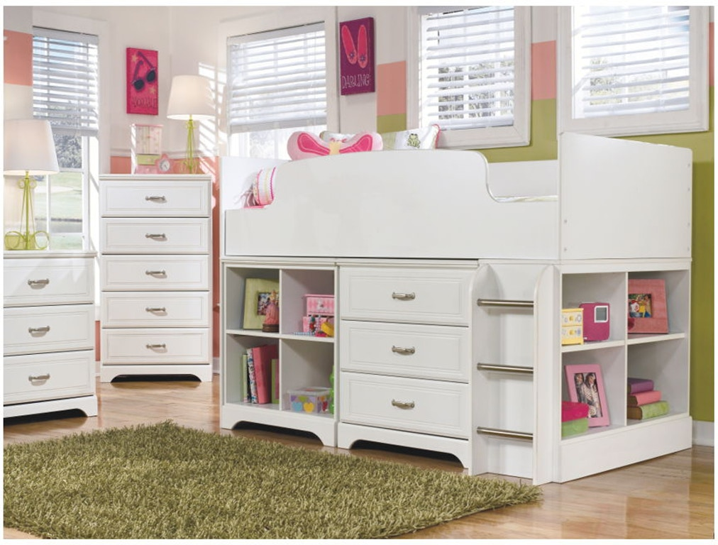 Ashley Lulu Twin Loft Bed And Bin Storage With Bookcase Set B102 21 26 68t 16 17 19 B100 11
