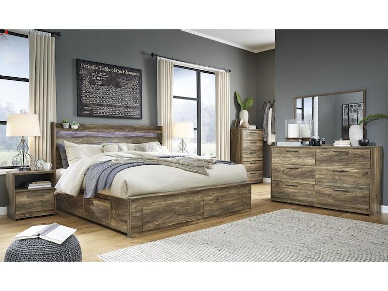 Ashley Rusthaven 10 Piece King Panel Storage Bed Set B322 31 36 46 58 56s 60 2 91 2 B100 14