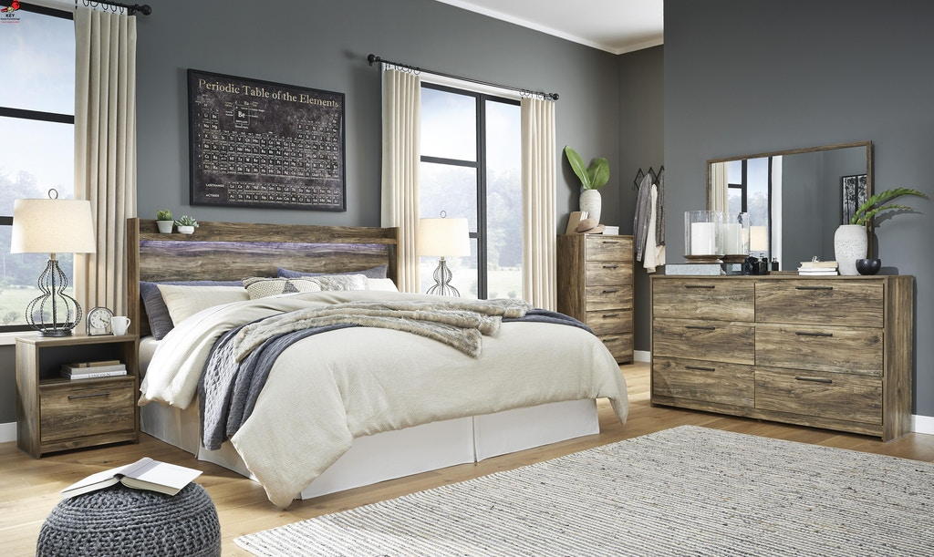 Ashley Rusthaven 7 Piece King Panel Bed Set B322 31 36 46 58 91 2 B100 14 Portland Or Key Home