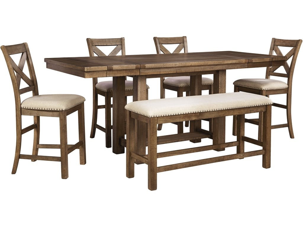 Ashley Moriville 6 Piece Rectangular Counter Dining Set D631 32 124 09 In