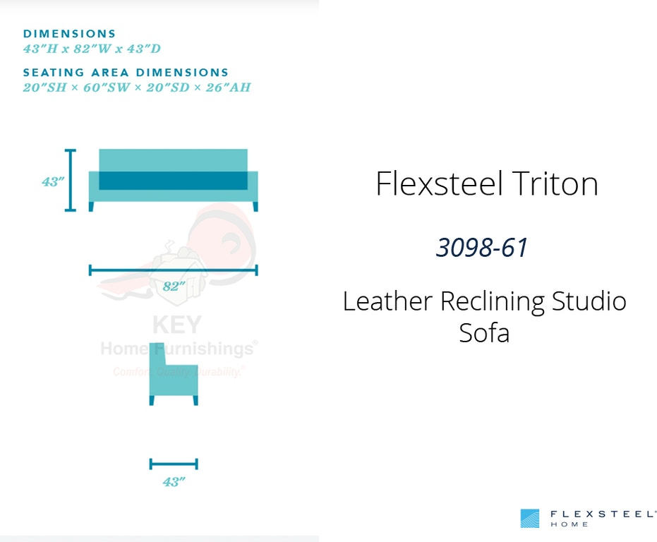 Flexsteel Triton Leather Reclining Studio Sofa 3098 61