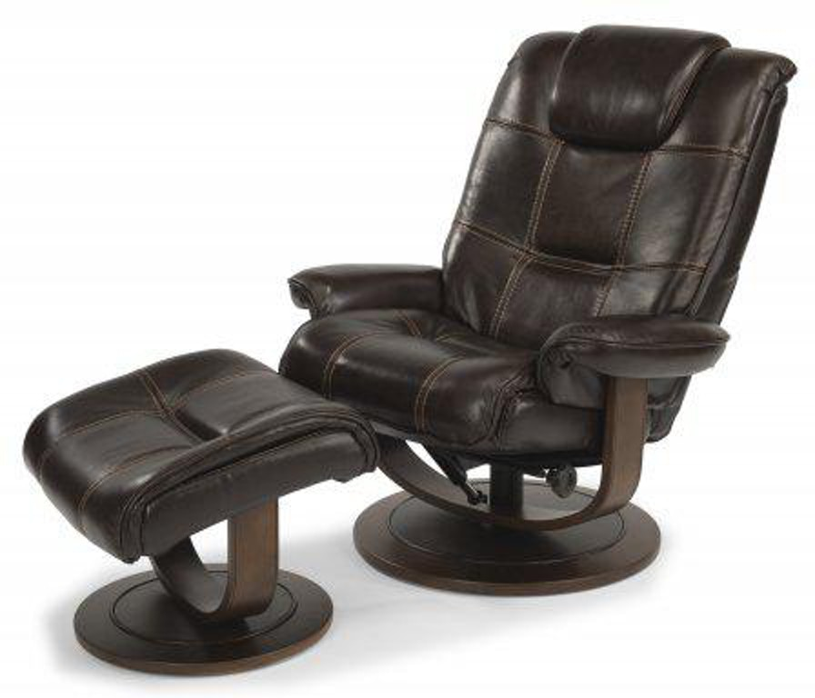 flexsteel spencer leather chair and ottoman 1457co