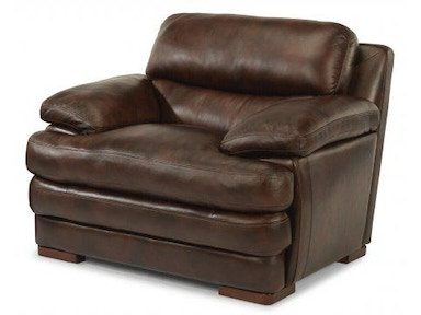 Flexsteel Dylan Leather Three Cushion Sofa Without