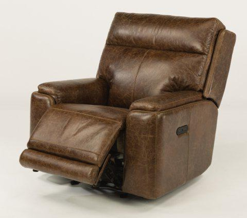 Pleasant Flexsteel Sienna Leather Power Gliding Recliner W Power Machost Co Dining Chair Design Ideas Machostcouk