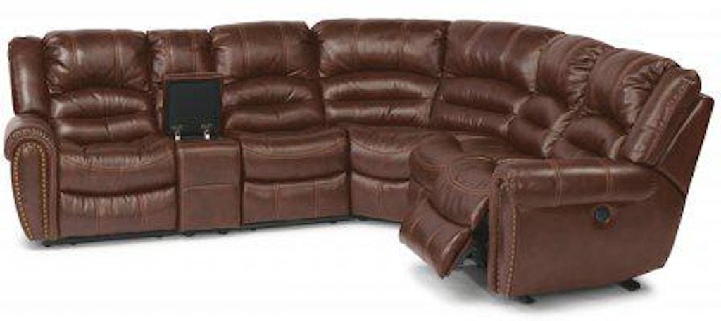 Flexsteel Crosstown Leather Reclining Sectional 1210