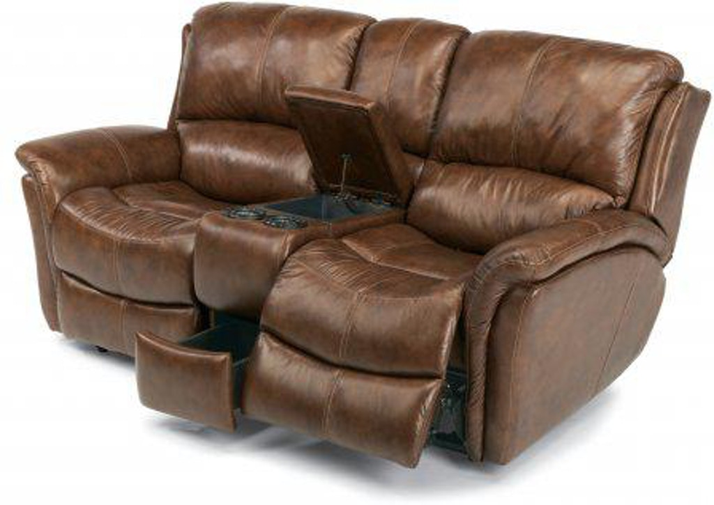 Stupendous Flexsteel Dominique Leather Power Reclining Loveseat With Pdpeps Interior Chair Design Pdpepsorg