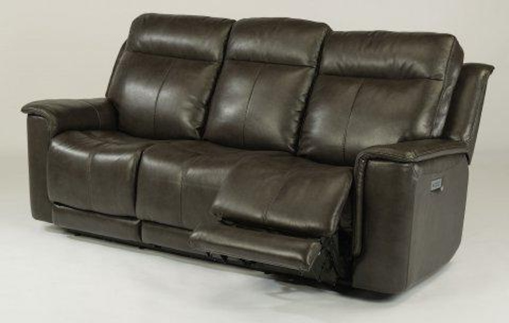 Flexsteel Miller Leather Power Reclining Sofa With Power